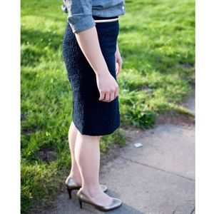 J. Crew Pencil Skirt in Navy Floral Eyelet